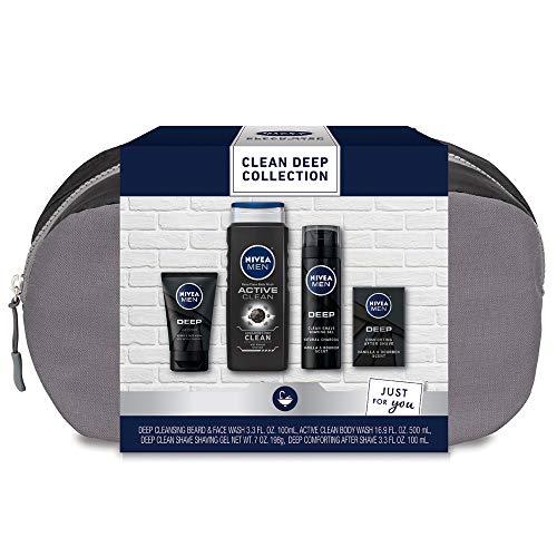 Nivea Men Clean Deep Skin Care Collection for Men, 4 Piece Gift Set, 30.5 Fl Oz