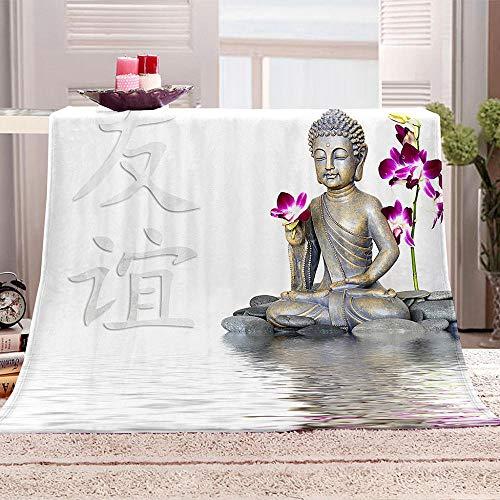 N \ A Mantas para Cama Zen y Buda Manta para sofá y Cama de Franela Manta de Tiro de para Todas Las Estaciones Suave y cálida 130x150cm
