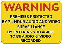 ヴィンテージの壁の装飾、警告24時間オーディオとビデオ監視の入り口、Style1310ヴィンテージのスズの壁の看板アート鉄の絵画金属警告プラークカフェバースーパーマーケットカフェテリアホーム