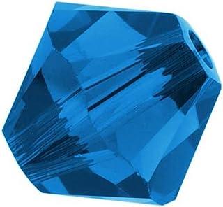 25pcs Authentic 4mm Small Swarovski Crystals 5328 Xillion Bicone Crystal Beads for Jewelry Craft Making (Capri blue) SWA-b425