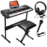 Hamzer 61-Key Electronic Keyboard Portable Digital Music Piano with Lighted Keys, H Stand, Stool, Headphones Microphone, & Sticker Set