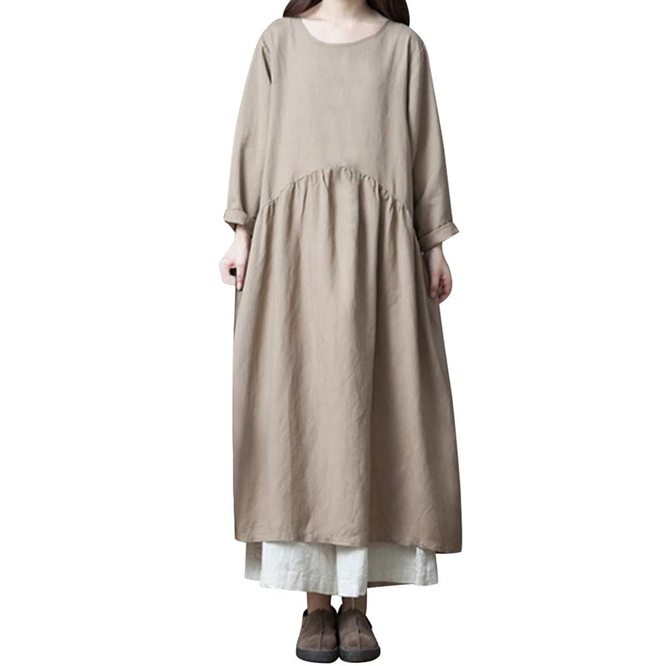 Sherostore ? Linen Cotton Casual Soft Loose Spring Summer Dress Plus Size Clothing Solid Long Maxi Dress oegloe191095