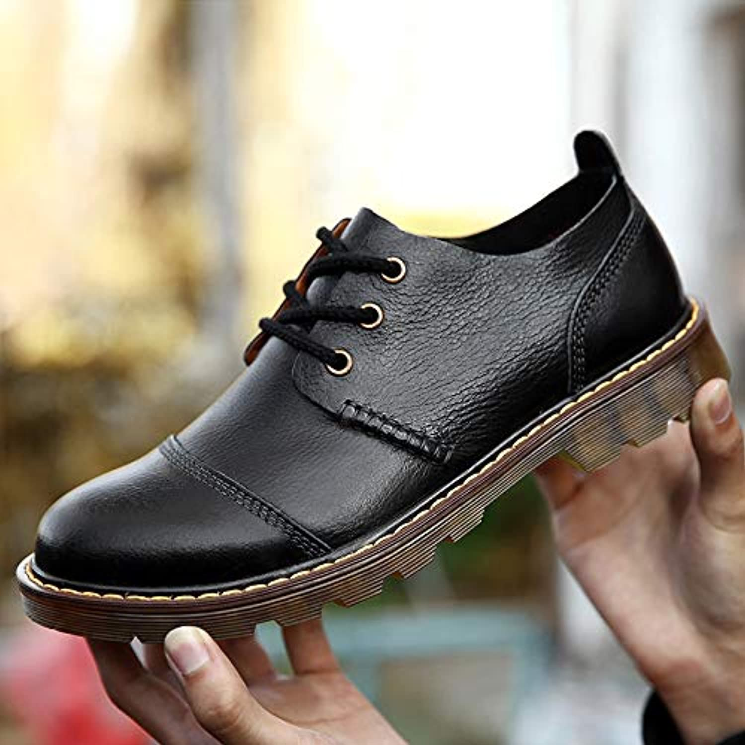 LOVDRAM Men'S shoes Large Size Martin shoes Men'S Casual shoes Wear Non-Slip Leather Tooling Big Head Low To Help Fashion Men'S shoes