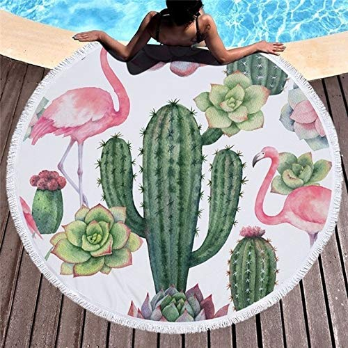 Women Large Bath Towel for Beach Thick Round  Printed Beach Towel Fabric Quick Compressed Towel Tapestry Yoga Mat -Cactus