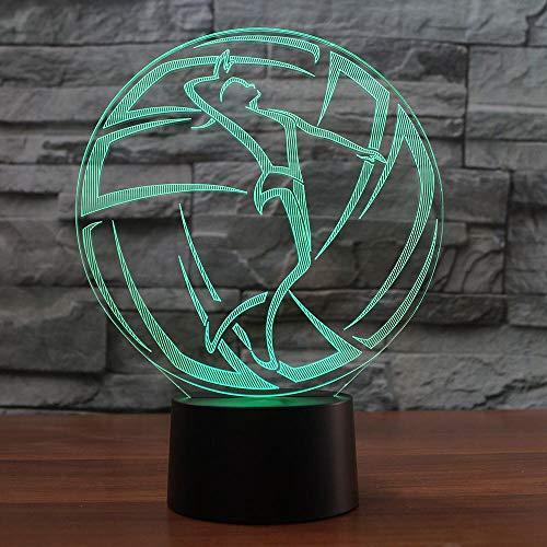 Jugador de voleibol luz nocturna 3D LED multicolor atmósfera cambio lámpara de mesa regalo iluminación USB decoración del hogar