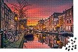 zhangshifa Jigsaw Puzzles Toys,Canal De Anochecer De Países Bajos Rompecabezas De Madera DIY Paisaje De National Geographic,Puzzle De Juegos para Niños Y Adultos para 1000 Piezas(75 * 50Cm)
