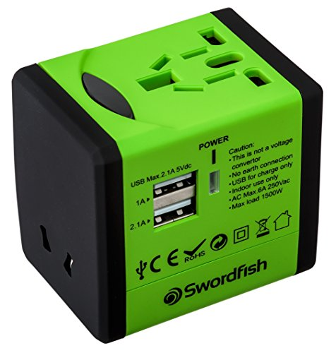 Swordfish 40255 VariPlug Dual USB Universal Travel Plug Adapter/Charger -...