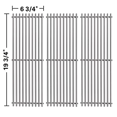 """SHINESTAR Stainless Steel Grill Grates Replacement for Chargriller 5050, 3001, 3008, 3030, 4000, 5252 Gas Grill & Charcoal Grill, King Griller 3008 5252, Set of 3 BBQ Cooking Grids (19 3/4"""" x 6 3/4"""")"""