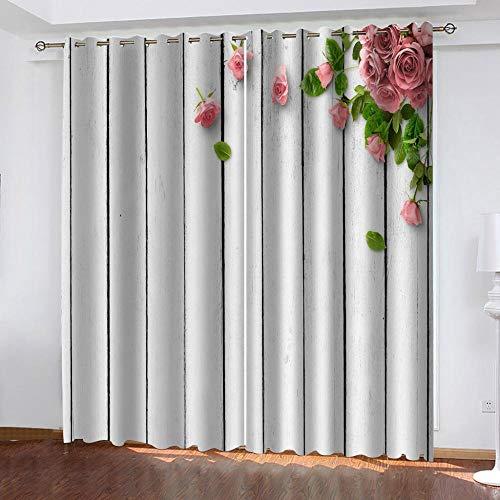 JKZHILOVE Verdunkelungsvorhang Pinke Blumen 100% Superfeine Faser Lärmminderung Ösen Thermo Vorhang für Wohnzimmer Schlafzimmer Kinderzimmer Dekoration 2 Stück Set2x117x137cm