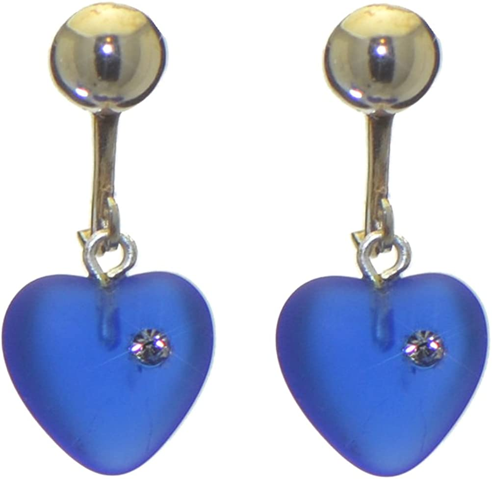 CORAZON dark blue pressed glass heart with inset crystal clip on earrings