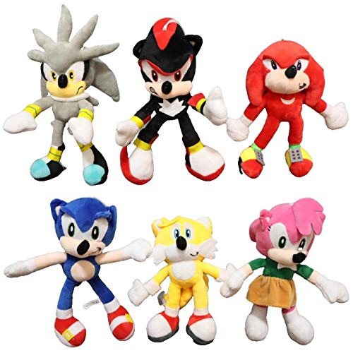QIMA Sonic Toy 6 unids/Lote Sonic Sonic Toy de la Felpa Negro Azul Amarillo Sonic de la Felpa Suave de Peluche de Juguete Caliente de la muñeca del Juego para los niños