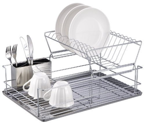 Home Basics 2-Tier Steel Dish Rack with Removable Utensil Cup
