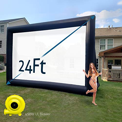 TKLoop 24Ft Huge Inflatable Outdoor Movie Screen with A Powerful 450W UL Blower Portable Blow up Movie Screen for Outdoor and Indoor Parties Without Seam