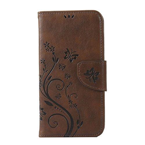 WindTeco Huawei Y625 Hülle, Retro Geprägt Schmetterling, Blume Muster Folio PU Leder Flip Hülle Handyhülle Brieftasche Schutzhülle mit Stand Funktion & Kartenfächer für Huawei Y625, Kaffee