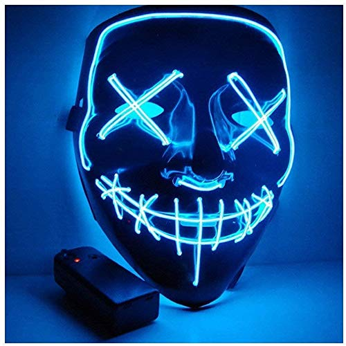 Sprening LED Purge Maske, LED Mask mit 3 Blitzmodi für Halloween Fasching Karneval Party Kostüm Cosplay Dekoration (Blau)