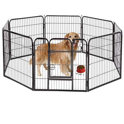 BestPet Pet Playpen 8 Panel Indoor Outdoor Folding Metal Protable...
