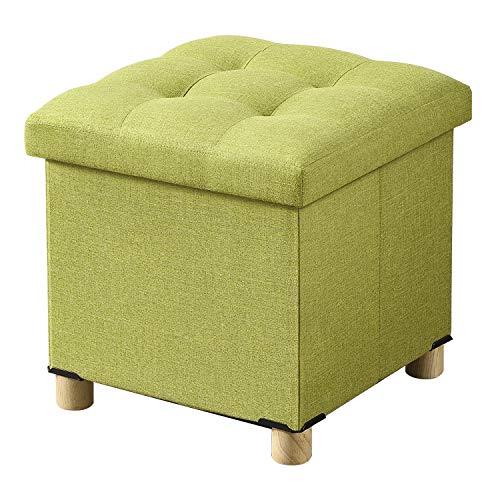 BRIAN & DANY Pouf Cubo Poggiapiedi Sgabello Contenitore Cassapanca Pieghevole 38 x 38 x 40 cm, Verde