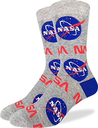 Good Luck Sock Men's NASA Socks, Gray, Adult