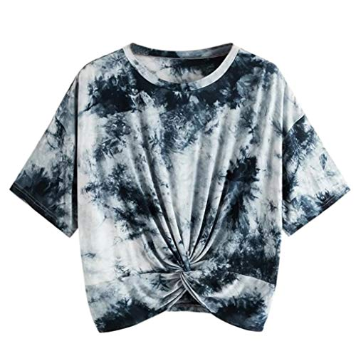 aihihe Crop Tops for Teen Girls Womens Short Sleeve Crewneck T Shirts Tie Dye Twist Front Tops Blouse Tunic Tee