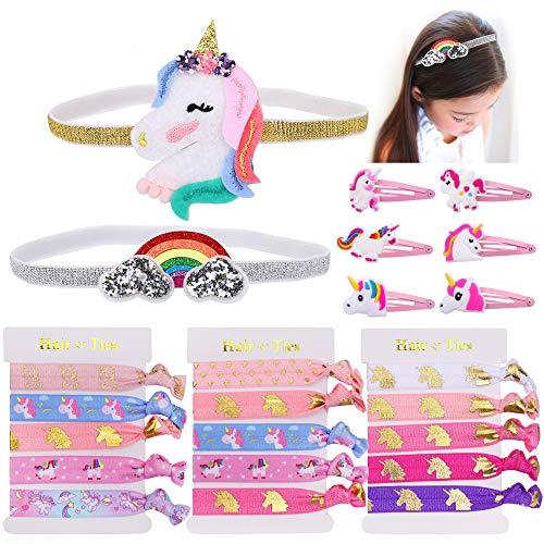 Konsait Einhorn Haargummis haarklammern mädchen Regenbogen Einhorn Stirnbänder Haaraccessoires für Mädchen Kinder