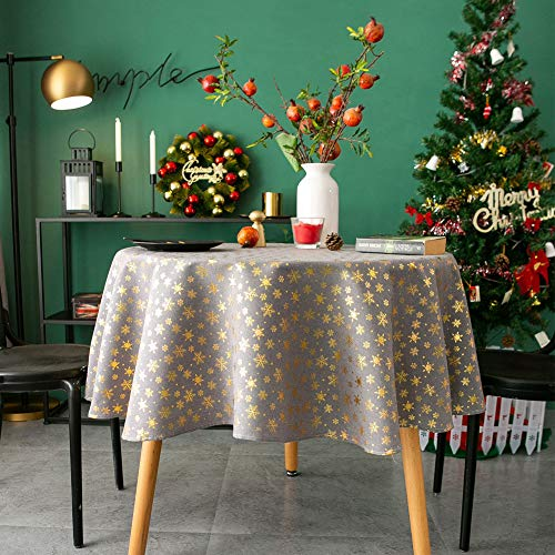 Amzali Vintage Rectangle Tablecloth - Dust-Proof Washable Xmas Themed Table Cloth, Decorative Fabric Table Cover for Dinner Party Everyday use, Snowflake ( Round 60 Inch )