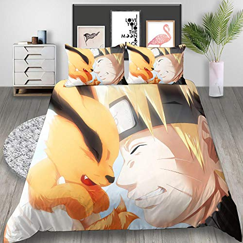 3D Duvet Covers Double Anime Naruto And Cat Microfiber Quilt Cover Bedding Set With Pillocases 78.7 X 78.7 inch 3 Pcs Bedding Set