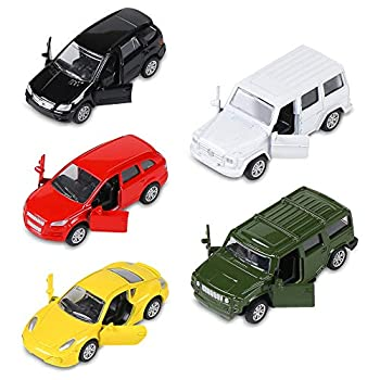KIDAMI Die Cast Metal Toy Cars Set of 5 Openable Doors Pull Back Car Gift Pack for Kids  Private car