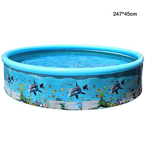 Kinderzwembad Herbruikbare Stijve PVC-familie Buiten Rond Oceaanzwembad Met Buis, Opvouwbaar Zwembad (blauw)