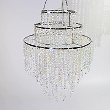 SUNLI HOUSE 3 Tiers Sparkling Acrylic Beaded Pendant Shade, Ceiling Chandelier Lampshade with Chrome Frame,12  Diameter,Light not included