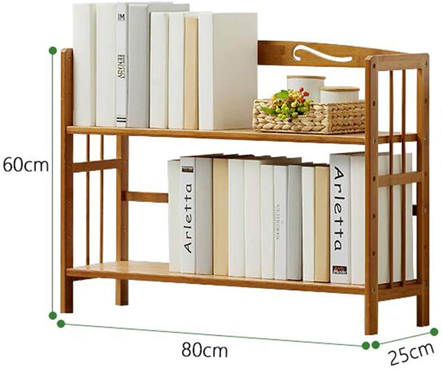 ZHPRZD Bookcase Bookcase Natural Bamboo Desk Office Home Neat Desktop Storage Storage Rack Display Stand (Size   80  25  60cm)