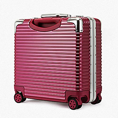 QWERASD Suitcases with Wheels,Business Trolley,Aluminum Alloy Rod Case Small Suitcase Boarding Suitcase Travel 360° Silent Universal Wheel Black, Red,Red