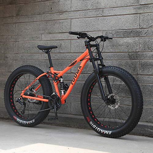 Bicicletas de montaña de los hombres, de 26 pulgadas Fat Tire Rígidas motos de nieve, marco de suspensión dual y la suspensión Tenedor todo terreno de montaña adultos de la bicicleta,Naranja,24Speed