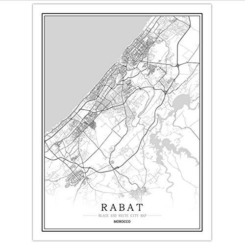xwpox affiche Marokko hoofdstad creatieve stad kaart korting abstract canvas schilderij zwart en wit muur kunstdruk poster afbeelding huis decoratie creatief cadeau, L 60x80cm(24x32inch) C