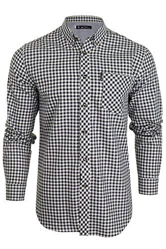 Ben Sherman Mens Long Sleeved Shirt Brushed Gingham Check Ink M