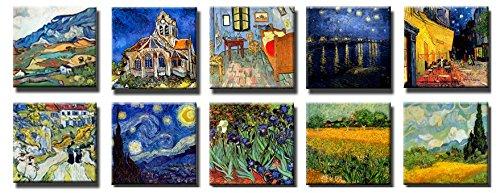 sekka jewelry tipo de Vincent van Gogh Print Canvas 10de 10x 30x 30cm Noche estrellada, Iris de espada Lirios, Terraza de café por la noche, Iglesia en Auvers, campo de trigo con cipreses, Noche Estrellada sobre el Ródano, Van Gogh Dormitorio en Arles, vista de Arles con iris, Les apilles Escaleras y calle en Auvers Lienzo sobre bastidor