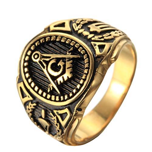 OAKKY Herren Edelstahl Weinlese Freimaurerischen Freimaurer Ring Symbol Mitglied Gold Band Größe 62 (19.7)