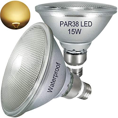 PAR38 LED warmweiss 2700K,15W,1350LM,2er Pack, Glas Reflektor,Wasserdicht,für Innen- und Außenbereich,Nicht Dimmbar,warmweiß,trahler Licht,Flutlicht Glühbirne,E27 LED PAR38 Lampe= 70W-120W Halogen