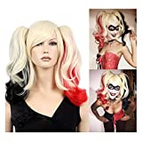 STfantasy Cosplay Anime Harley Quinn Pelucas mujer larga natural Sintética Peluca Carnaval Disfraz Fiesta Halloween