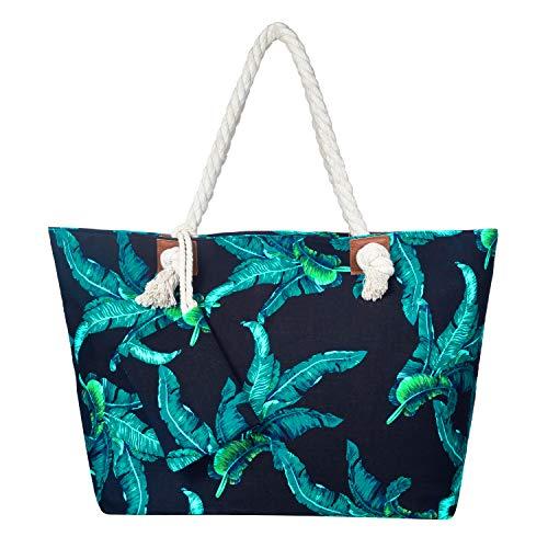Bolso de Playa Grande Impermeable con Cremallera Bolso de Hombro Hojas Azules