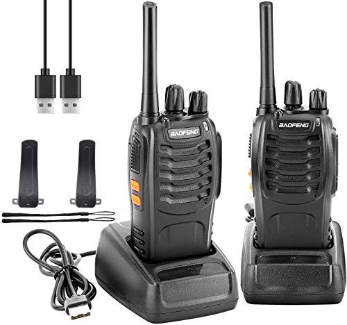 Walkie Talkie Recargable PMR Radio 16 Canales Batería 1500mAh Talkie walkie UHF Radio Portátil con Auriculares