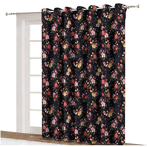 Watercolor Blackout Curtain Victorian Romantic Garden with Blossoming Roses Vintage Growth Soulful Bouquet Decorative Thermal Backing Sliding Glass Door Drape ,Single Panel 80x84 inch,for Patio Door M
