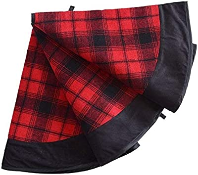 25aa16788 JustWalls 36 inch Plaid Christmas Tree Skirt with Black Suede Border Buffalo  Check Christmas Tree Decoration