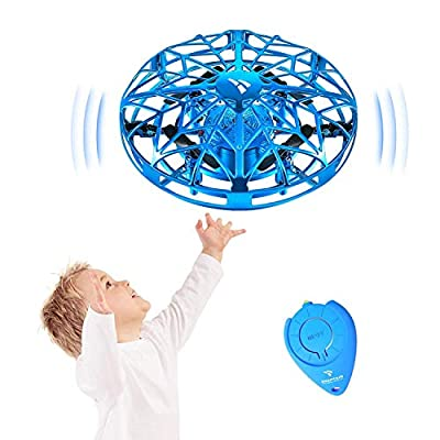 SNAPTAIN SP330 Hand Controlled Drone, Infrared Induction Mini UFO Drone for Kids, Indoor Outdoor Flying Ball Drone Toys, Great Interactive Game Toys for Children and Adults, Blue