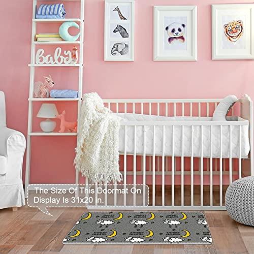 Yoliveya Felpudo, felpudo, felpudo, suave, ovejas blancas, luna amarilla, estrella, gris, absorbente, antideslizante, alfombra de goma para la entrada en casa, oficina, 31 x 50 cm