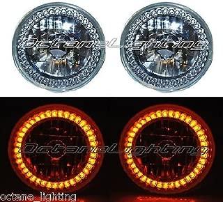 OCTANE LIGHTING 5-3/4 Halogen Amber Led Ring Halo Angel Eyes Headlight Headlamp Light Bulbs Pair