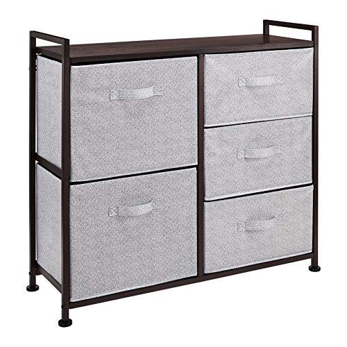 Amazon Basics Unidad de almacenamiento, de tela, con 5 cajones, para armario, color bronce