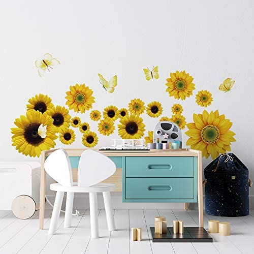 Supzone Sunflower Wall Decals with Butterfly Yellow Sunflower Wall Stickers Flowers Vinyl Sticker product image