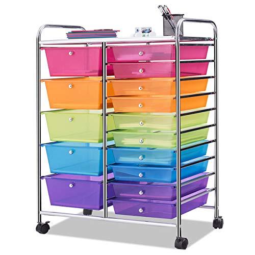 Giantex 15 Drawer Rolling Storage Cart