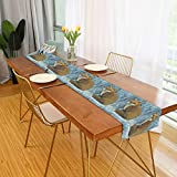 Ernest Congreve Table Runner Watercolor Forest Fox Winter Square Folding Dining Table Decor Scarves Non-Slip Modern Dinning Table Runners Cover Cloth Mat for Coffee Kitchen Paty Patio,Rectangular 70'