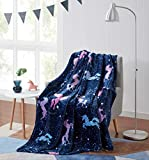 Kute Kids Embossed Velvet Plush Throw Blanket – Available in Mermaid Cats, Astronaut and Unicorn Designs, Colors Include Pink, Aqua, Purple and Grey - Super Soft and Ultra Cozy (Unicorn Magic Galaxy)